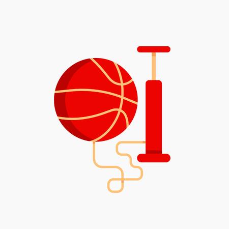 ベクトルは平面のイラストをデザイン ポンプでバスケット ボール ボール。スポーツ ポスター、ゲームの発表やプロモーションのためのクールなコ