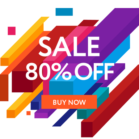 no gradient: Sale web banners template for special offers advertisement. Figures with the discount offer. Trendy colors in a modern material design style.