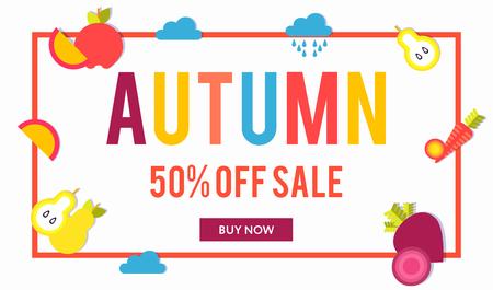 Modèle de bannières web de vente pour la publicité des offres spéciales. Ventes d'automne. Cadre avec l'offre de réduction et le bouton et les légumes et fruits de saison. Couleurs à la mode dans un style design moderne.
