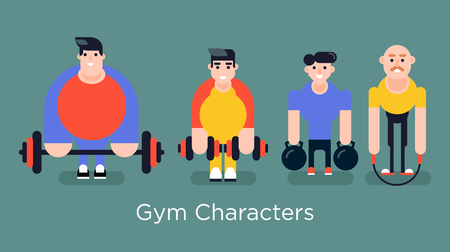 Cool vector set of gym sporty characters. Gym men work out team. The group of sporty people standing and smiling with different sporty stuff.