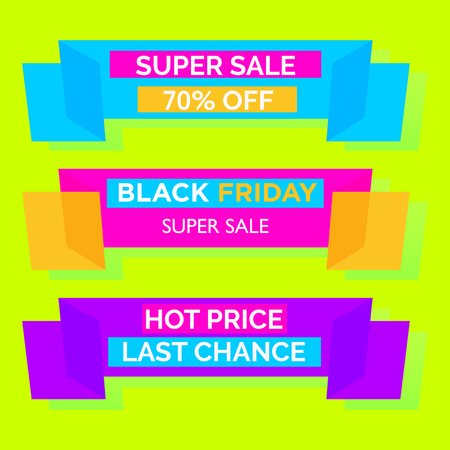 Black Friday Super Sale concept. Advertisement banners, posters. the ribbons and promotional text isolated on background with snowflakes. Vector illustration. New best colors.