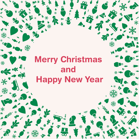 Merry Christmas And Happy New Year Cards. Quality Vector Flat ...