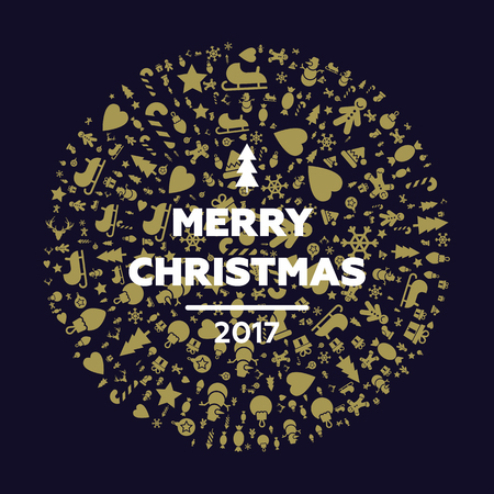Merry christmas and happy new year cards. Quality vector flat design Christmas greetings elements. Ideal for Xmas cards, banners, posters and other printables. Winter holidays design elements with deer, sleigh, stocking, wreath.