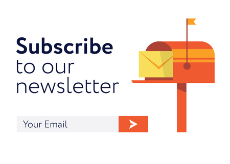 Subscribe to our newsletter in flat style illustration. Illustration