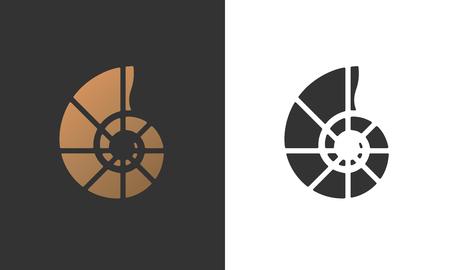 Illustration of seashell nautilus for logo, card, flyer design.