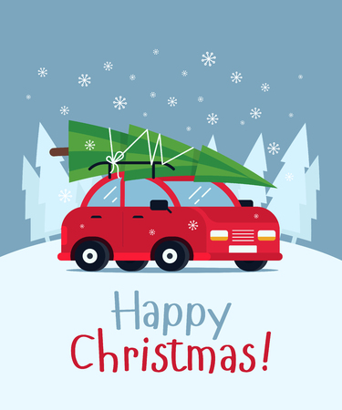 Lovely flat vector design in Christmas eve with little classic red car carrying Christmas tree on its rack. Ideal for Christmas holidays cards, posters, banners and other graphic and web design