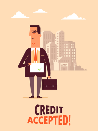 A Vector flat design illustration of bank applicant who receive credit acceptance. Interesting concept for bank credit policy
