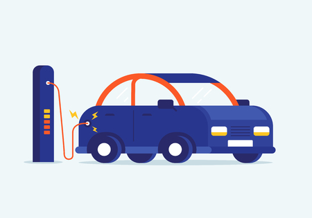 A Vector flat design illustration of charging modern electro car at e-station. Interesting concept of nature saving and new technology advertisement.