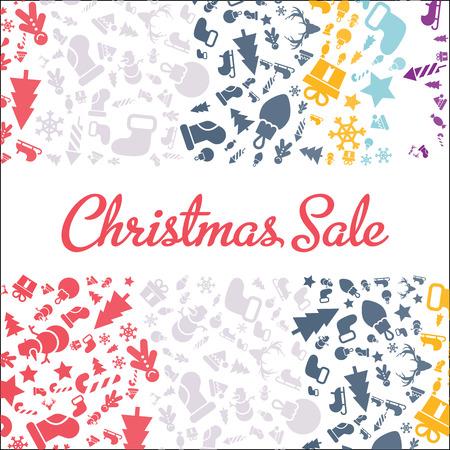 メリー クリスマスと新年あけましておめでとうございますクリスマス広告カードをクリスマスと新年の記号: ツリー、ベル、クッキー、ハート、雪  イラスト・ベクター素材