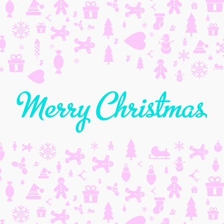 Merry christmas and happy new year christmas greeting card with the christmas and new year symbols: tree, bells, cookies, hearts, snowman . Fully editable vector illustrations and icons.