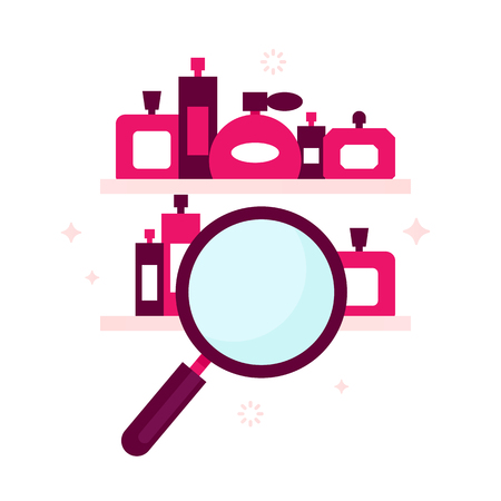 Search engine icon for perfume store, online shops, internet markets. Perfumes bottles on the shelves. Cool search concept for web pop ups. Flat design.
