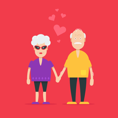 Pretty and cool grandparents characters falling in love and sweet valentine text.  Fully editable vector illustration. Perfect use for greetings cards, posters, flayers on saint valentine day.   Illustration
