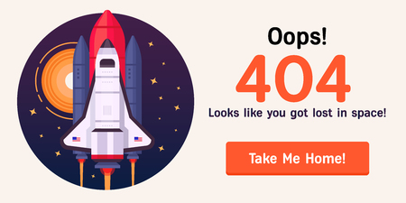 The concept of error web page with space rocket in the open space between different planets, comets, stars and space ships. Very good idea. Perfect for sites under constructions.