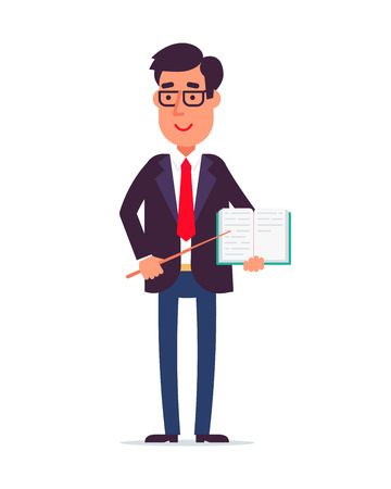 Male teacher character standing isolated on a white background with the book and pencil. Cartoon vector illustration on a white background