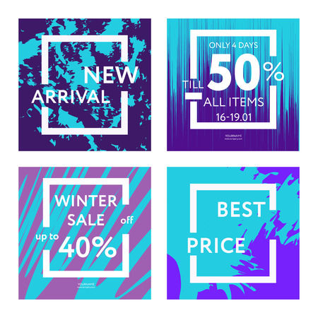Sale web banners templates for special offers advertisement. Liquid colors within different forms. New arrivals, new collection, sales concept for internet stores promo. Set of web banners.