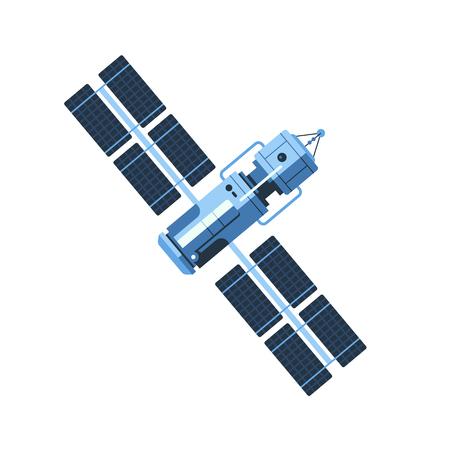 Il satellite isolato sull'illustrazione piana di progettazione di vettore bianco del fondo. Buon concetto per le imprese connesse. Satellite dettagliato su sfondo bianco Vettoriali