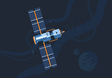 The satellite in the space vector flat design illustration. Good concept for business connected. Detailed satellite in the space.