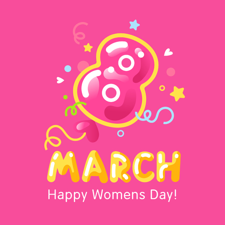 Greeting card for international worldwide woman's day with the big red 8 in the center in balloon style. Applique to Women's Day March 8. Vector background illustration.