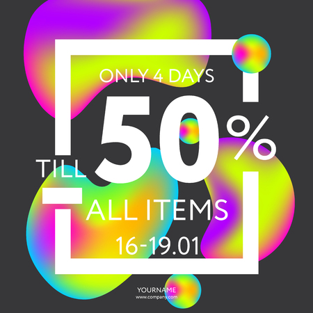 Sale web banners template for special offers advertisement. Frame with the advertisement text. Trendy colors in a modern material design style. Vectores