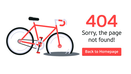 The concept of 404 error web page with broken bicycle in the puddle. Very good idea. Perfect for sites under constructions. Vector. Flat.