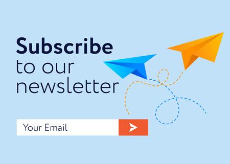 Iscriviti ora alla nostra newsletter (design piatto UI UX Design illustrazione vettoriale) con casella di testo e modello pulsante Iscriviti