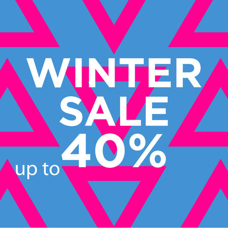 Sale web banners template for special offers advertisement. Triangles background. Winter sale offer. Trendy colors in a modern material design style.