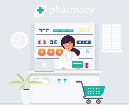 Pharmacy seller behind cash desk. Vector design illustration Vector Illustration