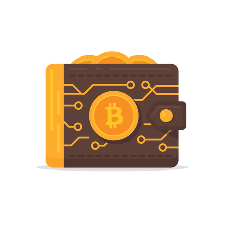 The bitcoin wallet as a chip card business metaphor. Cryptocurrency illustration.