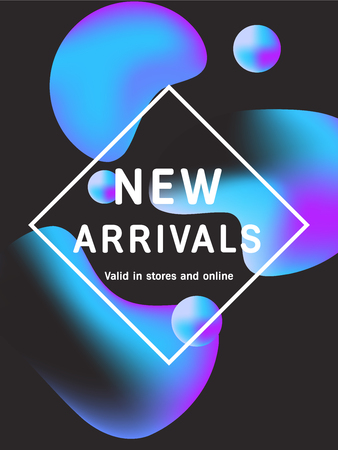 Sale web banners template for special offers advertisement. Liquid neon gradient colors within different forms. New arrivals concept for internet stores promo. New arrivals web banners. Archivio Fotografico - 95953858