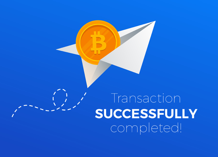 Transactions succesfully completed with bitcoins. Paper plane with bitcoin business metaphor.  Financial Transacrion illustration.