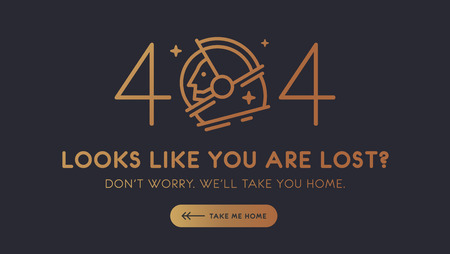 The concept of 404 error web page with austronaut in the open space made in modern outline style and gold glitter gradient color. Very good idea. Perfect for sites under constructions. Vector.  Stock Illustratie