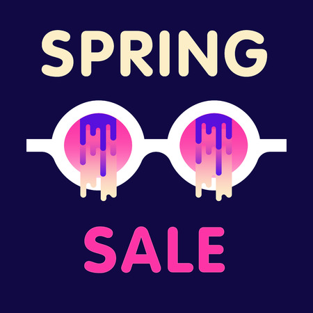 Sale web banners template for special offers advertisement. Sunglasses with the modern gradient, melty effect. New arrivals concept for internet stores promo. New arrivals web banners.  Illustration