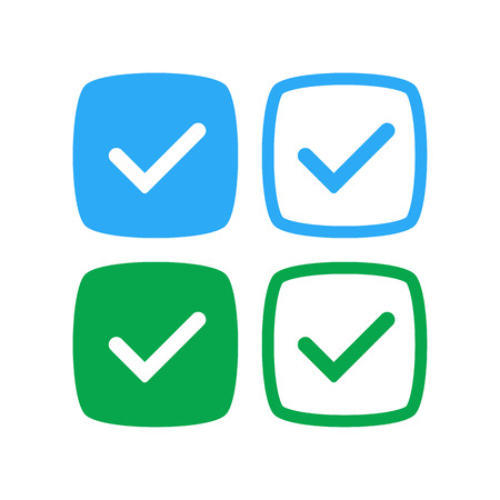 Verified and approve sign for social networks. Vector kit. Good for web badges, buttons, pins.