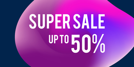 Sale web banners template for special offers advertisement. Discount offer. Super Sale concept. Liquid colors shapes with the hot text. Great sales concept. Bright colors.  Illustration