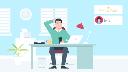 The office man character sitting on the chair behind the table and trying to resolve IT task concerning mobile application performance. Flat design vector illustration.