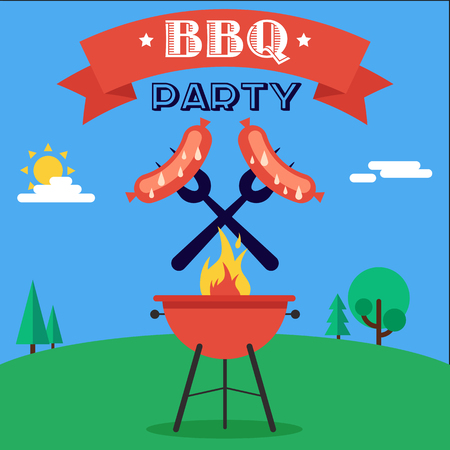 Invitation card to the barbecue. Grilled sausages on forks on the background of the natural landscape. Illustration in a flat style. Fully editable vector.