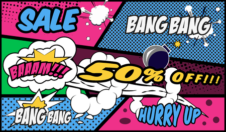 Poof, Bang Bang, wow, sales, Boost! wording in comic speech bubble in pop art style on burst half tone background. Great promo concept.