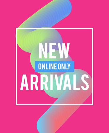 Plantilla de venta de banners web para publicidad de ofertas especiales. Colores líquidos en diferentes formas. Concepto de nuevas llegadas para la promoción de tiendas de internet. Recién llegados banners web.