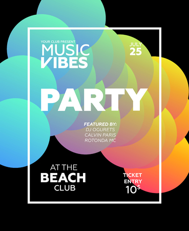 Web banner or print poster for summer beach party. Great concept for club and party promotion and advertisement. Vector illustration, abstract background. Gradient colors.  Иллюстрация