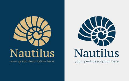 Vektorillustration mit Muschelnautilus. Objekt für Ihr Logo / Karte / Flyer. Logo