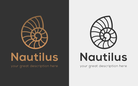 Vector illustration with seashell nautilus, object for your icon, card or flyer.