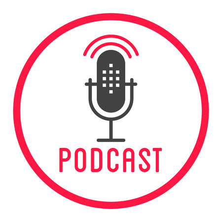 Podcast radio icon illustration. Studio table microphone with broadcast text podcast. Webcast audio record concept logo. Podcast logo.