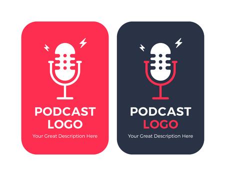 Conjunto de ilustración de icono de radio de podcast. Micrófono de mesa de estudio con transmisión de texto al aire. Logotipo de concepto de grabación de audio de transmisión web.