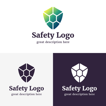 Set of logos for safety company. Set of shields with the gradient color black and white.. Guard icon.