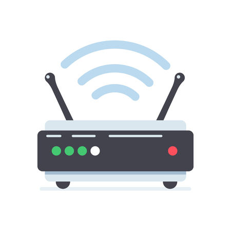 wi fi router vector flat design illustration. cool design for posters, plates, stickers and informational facility signs.