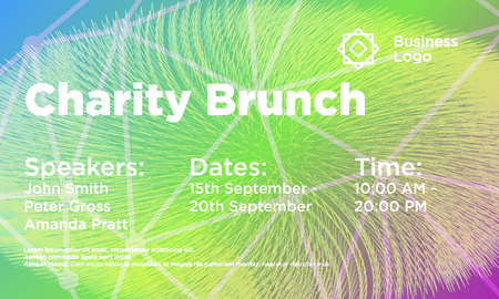 Charity Brunch abstract background template. Conference flyer layout. Minimal geometric design. Gradient colors. Futuristic Design.