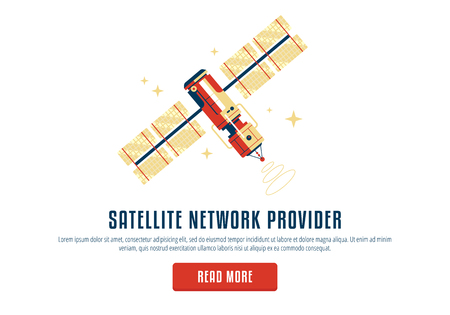 The satellite in the space vector flat design illustration. Good concept for business connected. Detailed satellite in the space. Satelite network provider web form, pop up, read more.