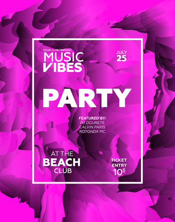 Party poster for night club. Template of invitation for summer party. Modern marble flyer design