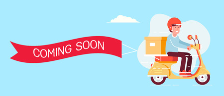 Retro styled scooter with the man in the helmet and present box with the ribbon and text coming soon. Flat design illustration. Perfect for web banners and advertisement.