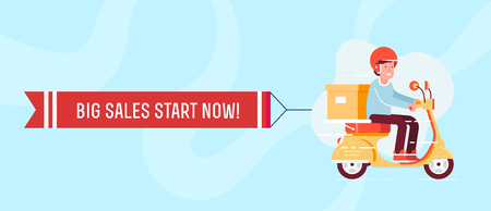 Retro styled scooter with the man in the helmet and present box with the ribbon and text new arrival. Flat design illustration. Perfect for web banners and advertisement. Vettoriali